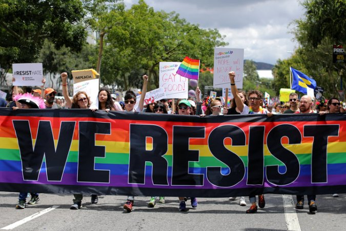 The annual Pride Parade is replaced with a Resist March as members of the LGBT community protest President Donald Trump in West Hollywood, California