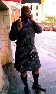 My cousin Stirland in his beautiful kilt waiting in the rain