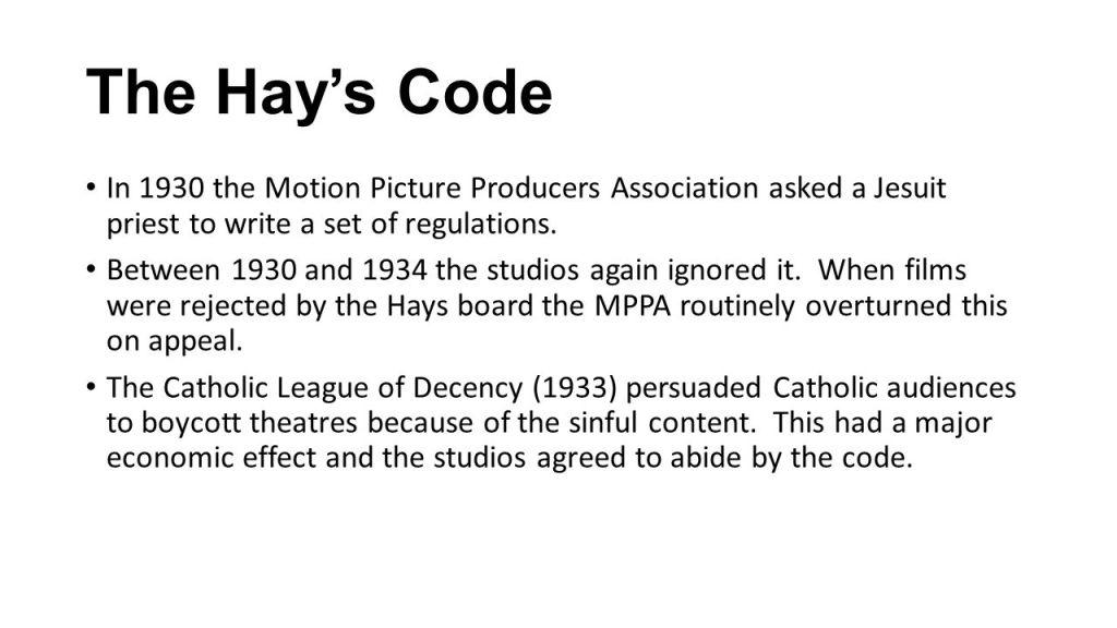 Hay's Code.